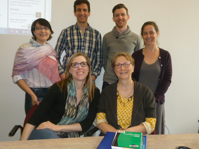 W2014 Writing Fellows: Standing: Nejla El Solh (Francais), Mark Beauchamp (History), Jon Sumner (Physics), Susan Briscoe (English). Seated: Anne Thorpe (WID Co-director), Diana Tremblay (Student AcessAbility Centre)